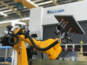 Robotic bending cell system for automatic robot press brake of sheet metal